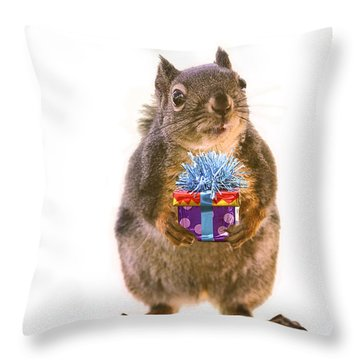 Squirrel With Gift Throw Pillow by Peggy Collins