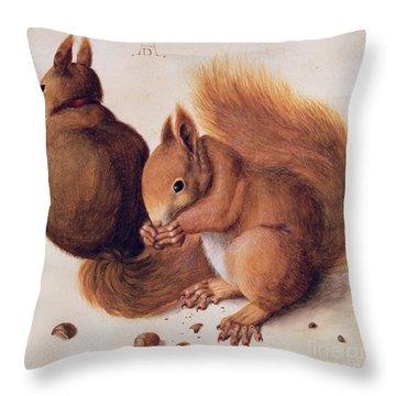 Squirrels Throw Pillow by Albrecht Duerer