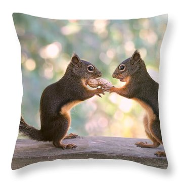 Squirrels That Share Throw Pillow by Peggy Collins