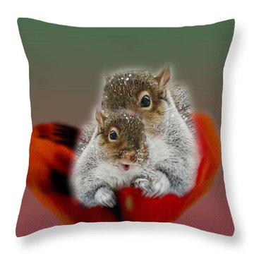 Squirrels Valentine Throw Pillow by Mike Breau