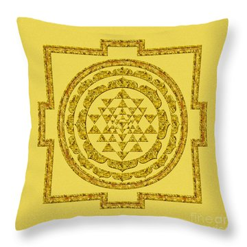 Sri Yantra In Gold Throw Pillow