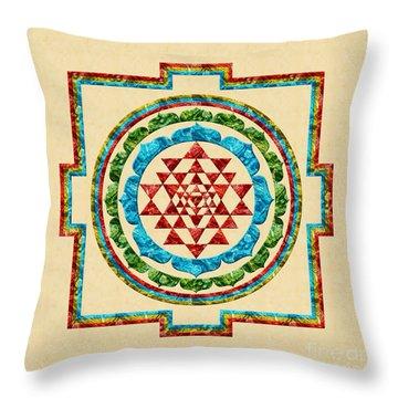 Sri Yantra Throw Pillow by Olga Hamilton