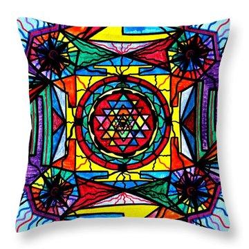 Sri Yantra Throw Pillow by Teal Eye  Print Store