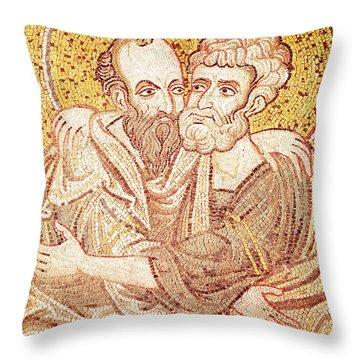 Saints Peter And Paul Embracing Throw Pillow
