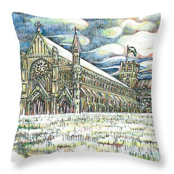 St Albans Abbey - At Sunset Throw Pillow