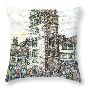 St Albans Clock Tower - Busy Market Day Throw Pillow
