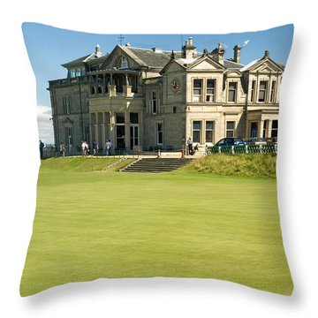 St Andrews Final Green And Clubhouse  Throw Pillow by Jeremy Voisey