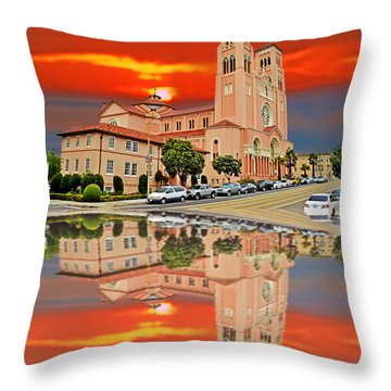 St Anne Church Of The Sunset In San Francisco With A Reflection  Throw Pillow