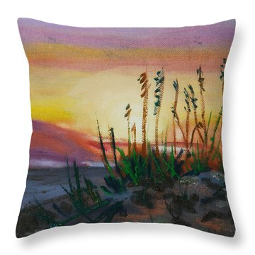 Beach At Sunrise Throw Pillow