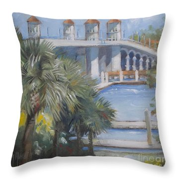St Augustine Bridge Of Lions Throw Pillow by Mary Hubley