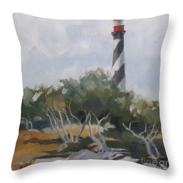 St Augustine Lighthouse First Light Throw Pillow by Mary Hubley