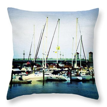St. Augustine Sailboats Throw Pillow by Laurie Perry