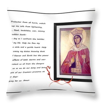 St. Barbara Protector From All Harm - Prayer - Petition Throw Pillow by Barbara Griffin