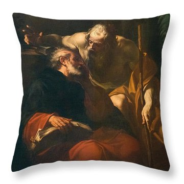 St. Benedict And A Hermit Throw Pillow by Domenico Maria Viani
