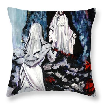 St. Bernadette At The Grotto Throw Pillow