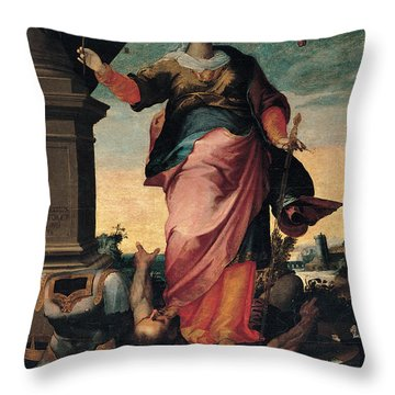 St Catherine Of Alexandria, 1570 - 1611 Throw Pillow by Il Sozzo