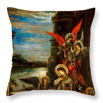 St Cecilia The Angels Announcing Her Coming Martyrdom Throw Pillow by Gustave Moreau