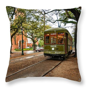 St. Charles Ave. Streetcar In New Orleans Throw Pillow by Kathleen K Parker
