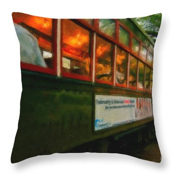 St. Charles Ave Streetcar Whizzes By - Digital Art Throw Pillow by Kathleen K Parker