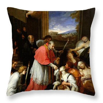 St. Charles Borromeo 1538-84 Administering The Sacrament To Plague Victims In Milan In 1576 Oil Throw Pillow