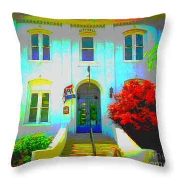 St. Charles County City Hall Painted Throw Pillow by Kelly Awad