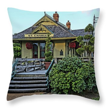 St Charles Station On The Katty Trail Look West Dsc00849 Throw Pillow