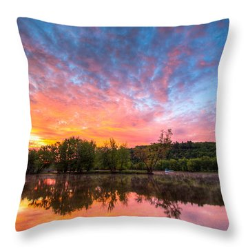 St. Croix River At Dawn Throw Pillow