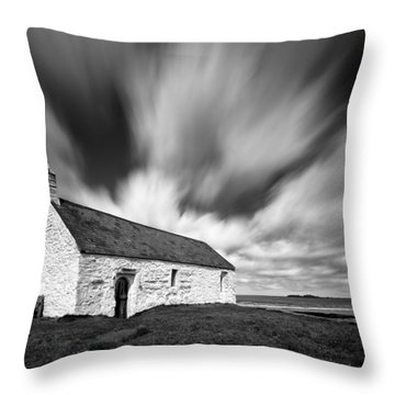 St Cwyfan's Church Throw Pillow by Dave Bowman
