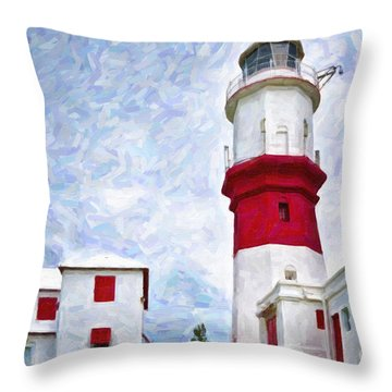 Throw Pillow featuring the photograph St. David's Lighthouse by Verena Matthew