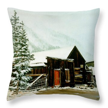 Throw Pillow featuring the painting St Elmo Snow by Craig T Burgwardt