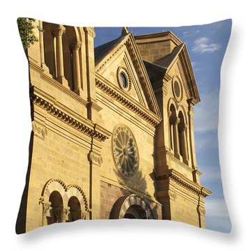 St. Francis Cathedral - Santa Fe Throw Pillow by Mike McGlothlen