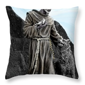St Francis Of Assisi On Isabela In The Galapagos Throw Pillow