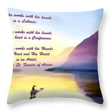 St Francis Of Assisi Quotation Throw Pillow