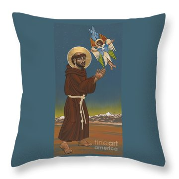 Throw Pillow featuring the painting St. Francis Patron Of Colorado 186 by William Hart McNichols
