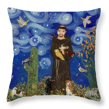 St. Francis Starry Night Throw Pillow