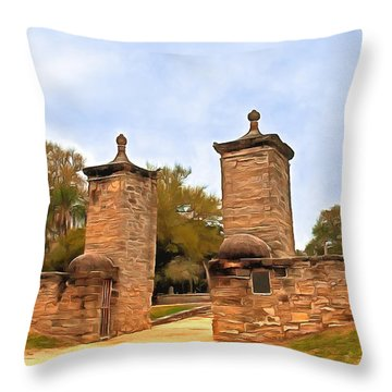 St. George Street Entrance Throw Pillow by Marion Johnson