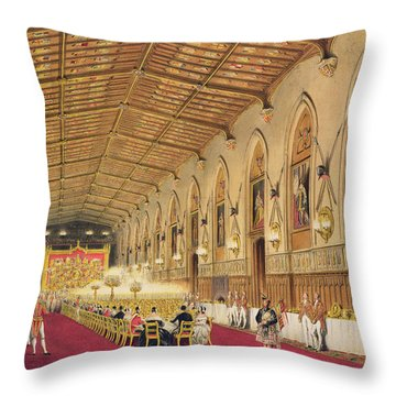 St Georges Hall At Windsor Castle Throw Pillow by James Baker Pyne