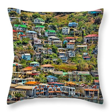 St. Georges Harbor Grenada Throw Pillow