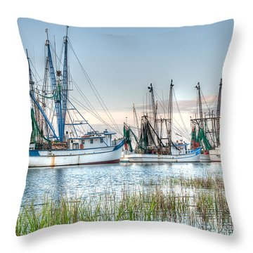 St. Helena Island Shrimp Boats Throw Pillow