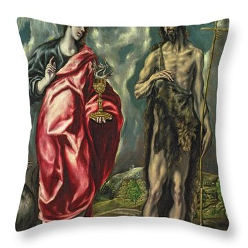 St John The Evangelist And St John The Baptist Throw Pillow by El Greco Domenico Theotocopuli