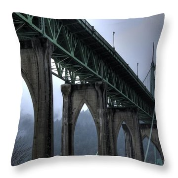 St Johns Bridge Oregon Throw Pillow