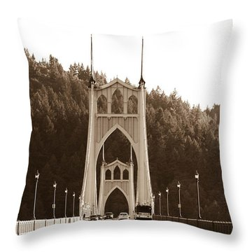 St. John's Bridge Throw Pillow by Patricia Babbitt