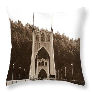 Throw Pillow featuring the photograph St. John's Bridge by Patricia Babbitt