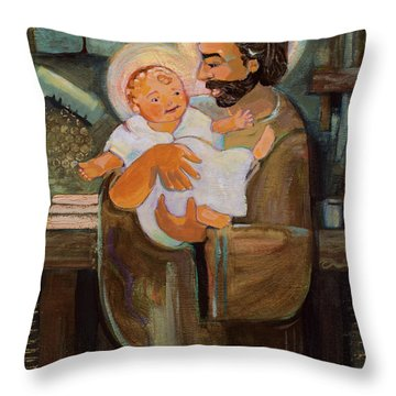 St. Joseph And Baby Jesus Throw Pillow
