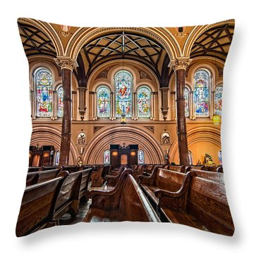 St. Joseph Church Stained Glass Throw Pillow
