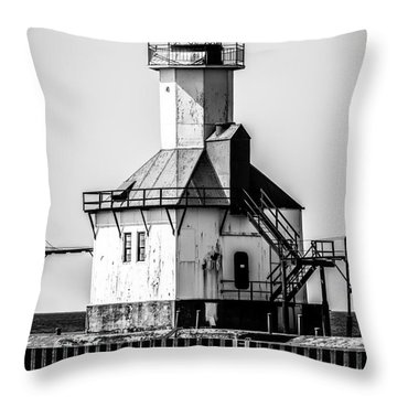St. Joseph Lighthouse Black And White Picture  Throw Pillow by Paul Velgos