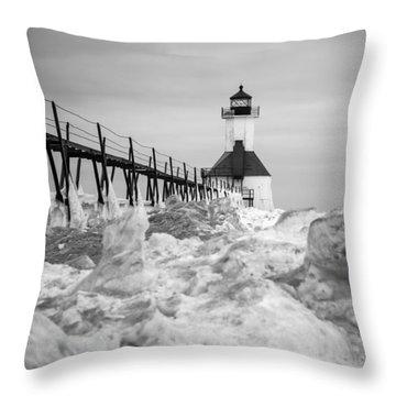 St. Joseph Lighthouse In Ice Field Throw Pillow