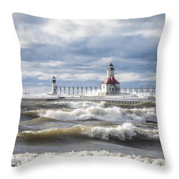 St Joseph Lighthouse On Windy Day Throw Pillow
