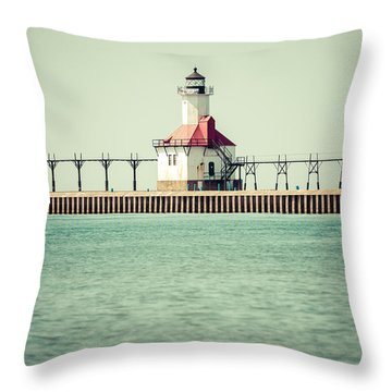 St. Joseph Lighthouse Vintage Picture  Throw Pillow by Paul Velgos