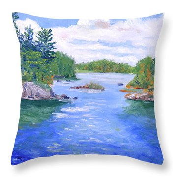 St Lawrence River-view From Waterson State Park Throw Pillow by Robert P Hedden
